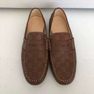 Gucci Tan Guccissina GG Loafer Leather Men's 10.5